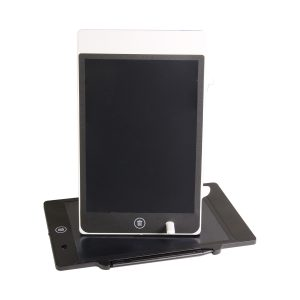 A writing tablet for taking notes, black, standing up on top of another writing tablet, laying down