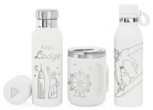 A collection of laser-engraved white drinkware