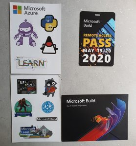 A picture of the swag kit from Microsoft's 2020 Build conference