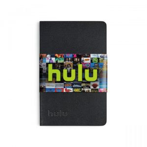 A leather notebook with a Hulu paper band across the front