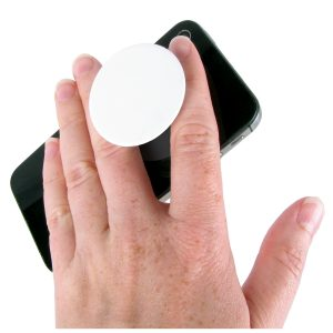 A picture of a blank Popsocket on a phone being held by a male hand